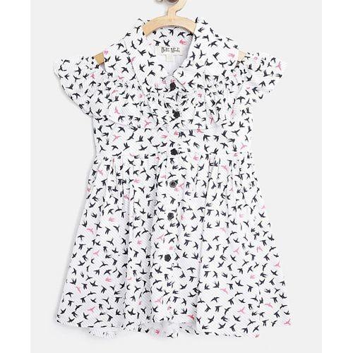Bella Moda White Bird Print Short Sleeves Dress