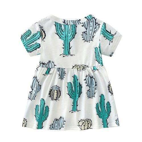 Pre Order - Awabox All Over Cactus Print Half Sleeves Dress - White