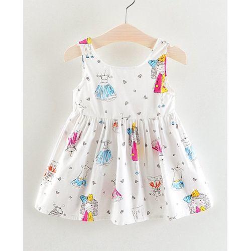 Pre Order - Awabox Girl Print Sleeveless Dress - White