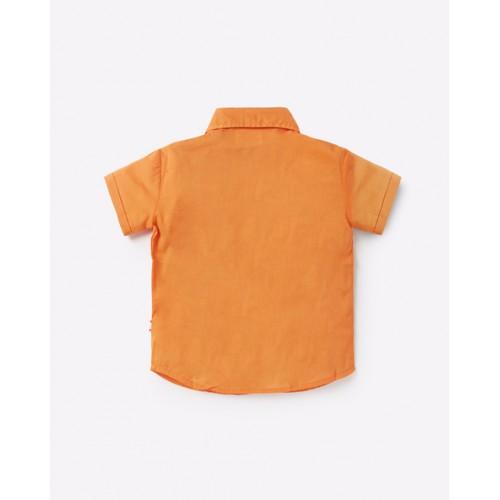 Nino Bambino 100% Pure Organic Cotton Short Sleeve Button Down Closure Regular Collar Orange Shirt for Boys with Pocket
