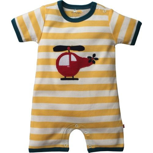 Nino Bambino 100% Pure Organic Cotton Short Sleeves Round Neck Striped Multicolor Romper for Baby Boys