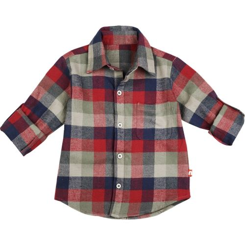 Nino Bambino 100% Pure Organic Cotton Regular Collar Button Down Closure Full Sleeve Checkered Multicolor Shirt for Baby Boys with Front Pocket