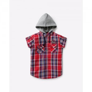 RUFF KIDS Hooded Checked Shirt with Buttoned Flap Pockets