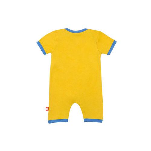 Nino Bambino Boys Mustard & Blue Printed Romper