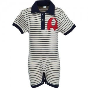 Nino Bambino Baby Boys Navy & Cream Sleepsuit