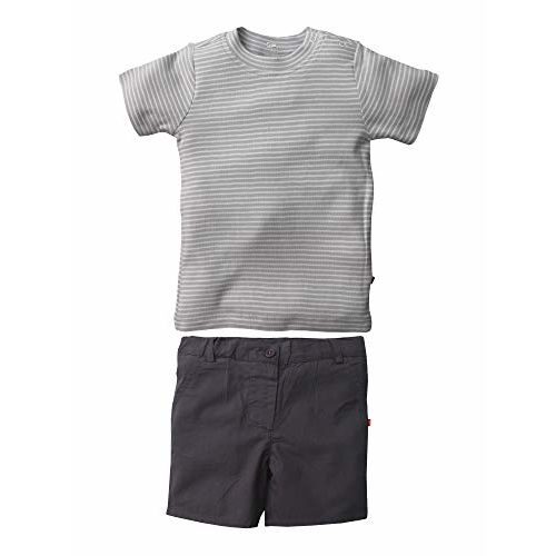 Nino Bambino 100% Pure Organic Cotton Short Sleeve Round Neck Striped Top and Plain Shorts Bottom Set for Baby Boys