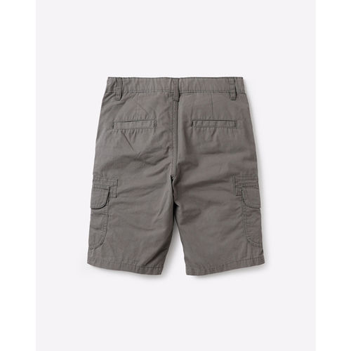 AJIO Mid-Rise Flat-Front Shorts with Cargo Pockets