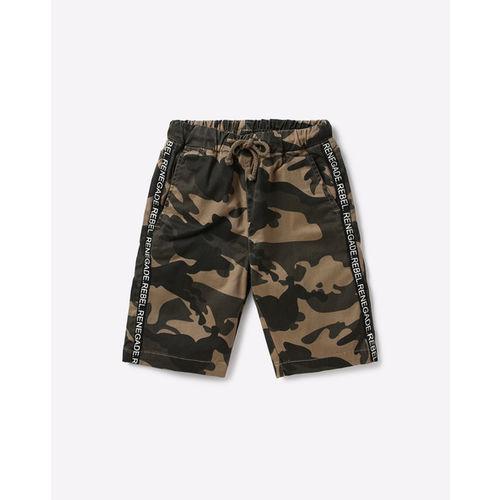 AJIO Camo Print Mid-Rise Shorts