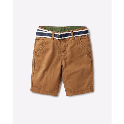 AJIO Flat-Front Mid-Rise Shorts with Belt