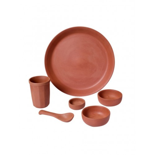 Unravel India Brown Set of 6 Solid Dinner Set