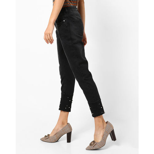 DNMX Mid-Rise Slim Fit Jeans with Embellished Hems