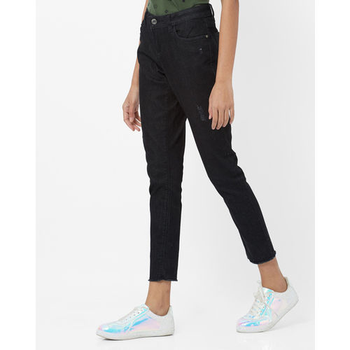 DNMX Mid-Rise Distressed Slim Fit Jeans
