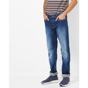 AJIO Mid-Rise Washed Tapered Jeans