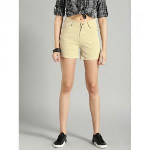 Roadster Women Beige Solid Chino Shorts