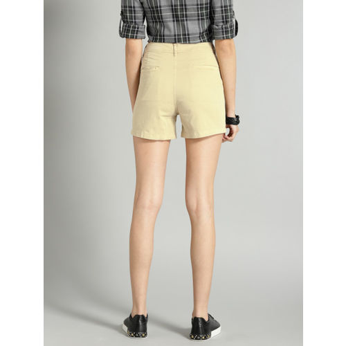Roadster Women Beige Solid Chino Shorts