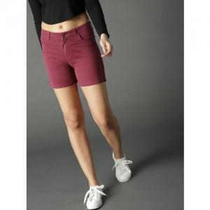 Roadster Women Maroon Solid Regular Shorts