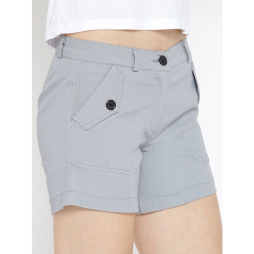 Rider Republic Women Grey Solid Regular Fit Shorts