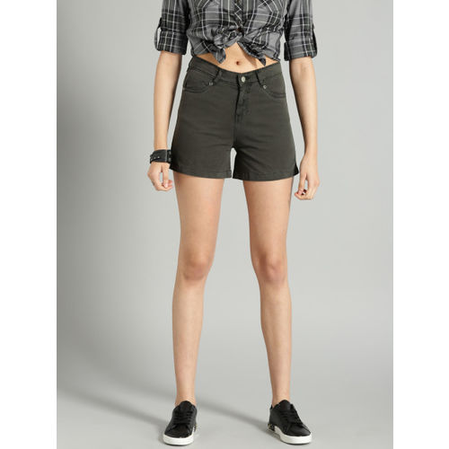 Roadster Women Charcoal Grey Solid Chino Shorts