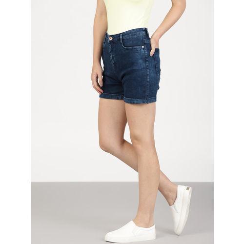 ether Women Navy Blue Solid Regular Fit Denim Shorts