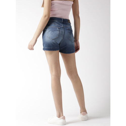 Xpose Women Blue Washed Distressed Skinny Fit Denim Shorts