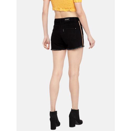 FREAKINS Women Black Solid Regular Fit Denim Shorts