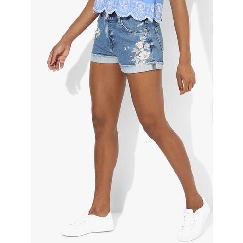 MANGO Blue Embroidered Shorts