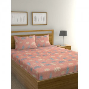 6cdee2c580 Raymond Home Blue & Peach-Coloured Floral Flat 104 TC Cotton 1 King Bedsheet  with