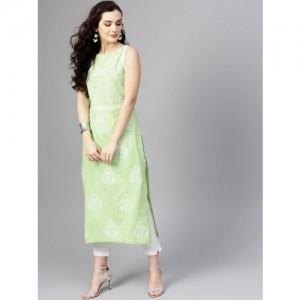 Pannkh Green Cotton Printed Straight Kurta