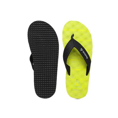 Reebok Men Black & Fluorescent Green Thong Flip-Flops