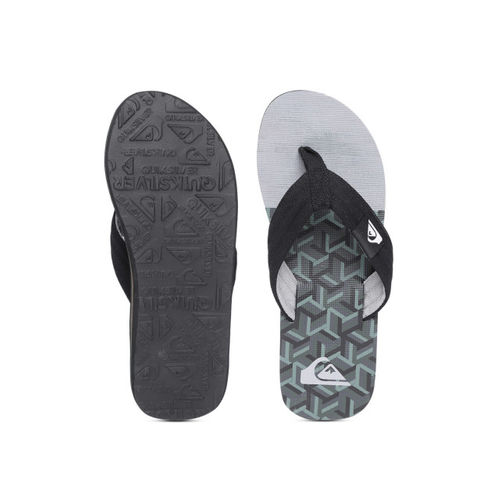 Quiksilver Men Grey & Black Printed Thong Flip-Flops