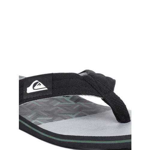 Quiksilver Men Grey & Black Printed Thong Flip-Flops