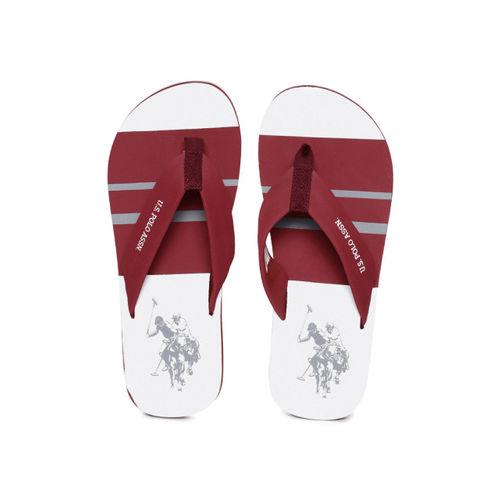U.S. Polo Assn. Men Maroon & White Striped Thong Flip-Flops