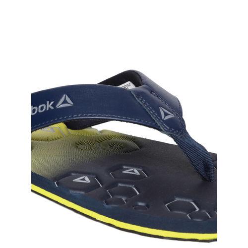 Reebok Men Navy Blue & Yellow Xtreme Printed Thong Flip-Flops