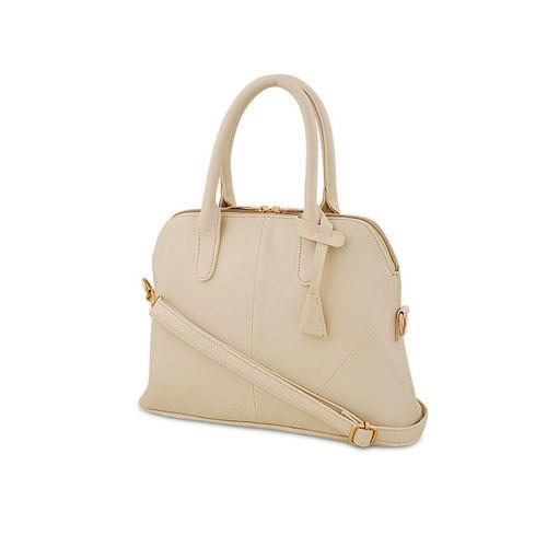 LaFille Cream-Coloured Solid Handheld Bag