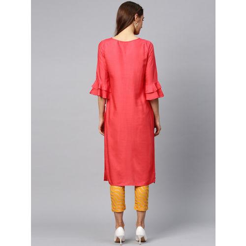Juniper Women Coral Red & Mustard Yellow Yoke Design Kurta with Trousers