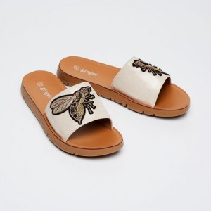 Ginger by Lifestyle Beige Woven Design Open Toe Flats