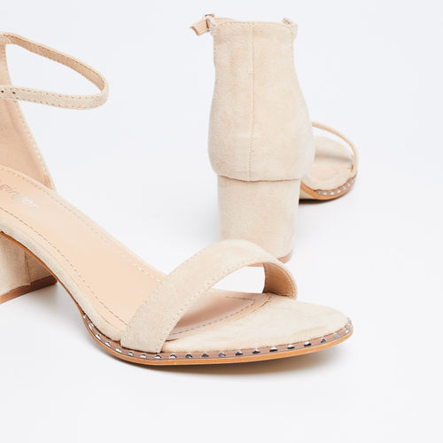 Ginger by lifestyle Textured Block Heel Sandals with Ankle Strap