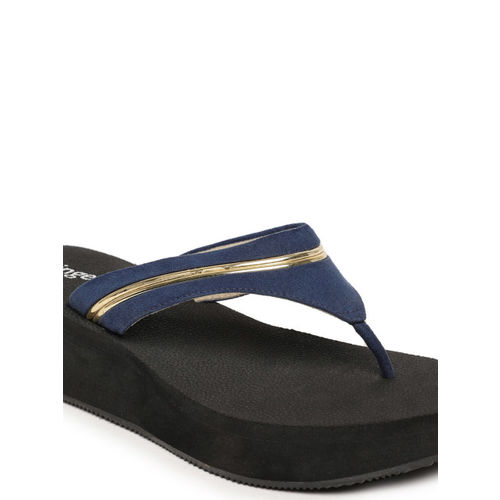 Ginger by Lifestyle Women Navy Blue & Gold-Toned Solid Wedges