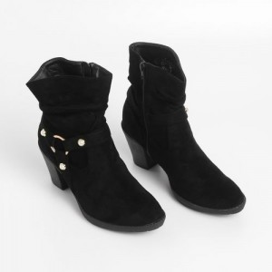 Ginger by Lifestyle Women Black Solid Heeled Boots