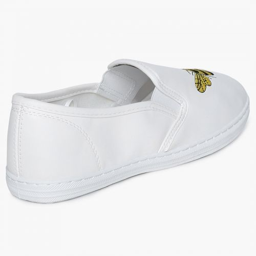 Ginger by Lifestyle White Synthetic Slip-on Casual Shoes