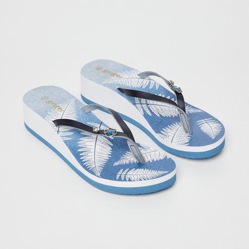 Ginger by Lifestyle Blue Embellished Thong Heeled Flip-Flops
