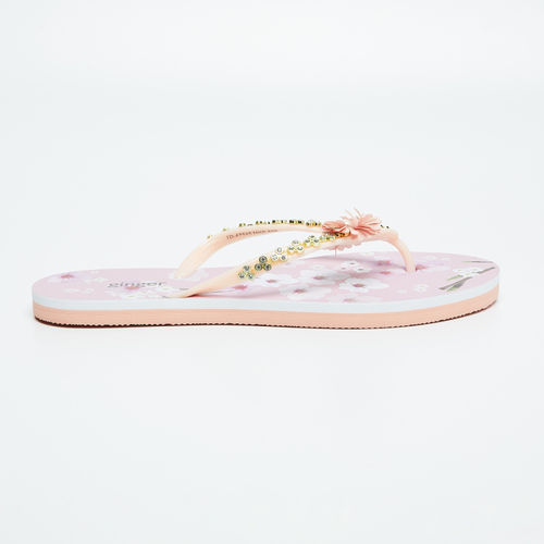 Ginger by Lifestyle Women Peach-Coloured Embellished Thong Flip-Flops
