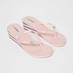 Ginger by Lifestyle Pink Rubber Slip-on Flat Flip Flops