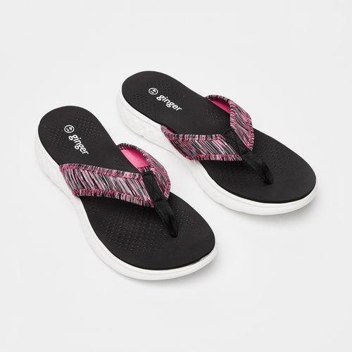 Ginger by Lifestyle Women Black & Pink Printed Thong Flip-Flops