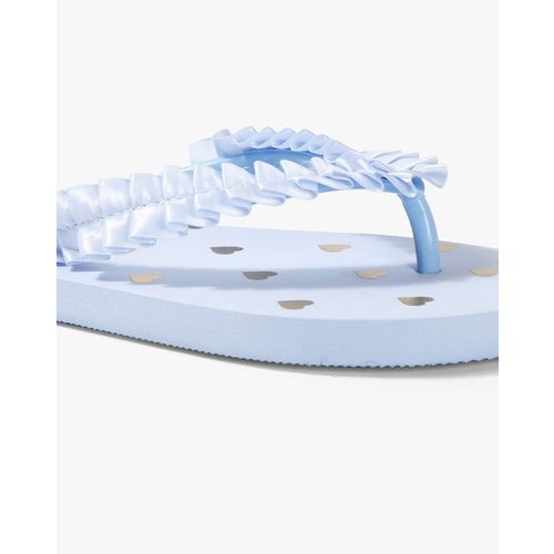 Ginger by Lifestyle Women Blue Pleated Thong Flip-Flops