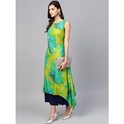 Shree Women Green & Blue Printed A-Line Kurta