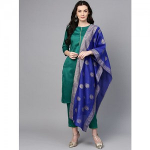 Ahalyaa Green Solid Kurta with Trousers & Dupatta