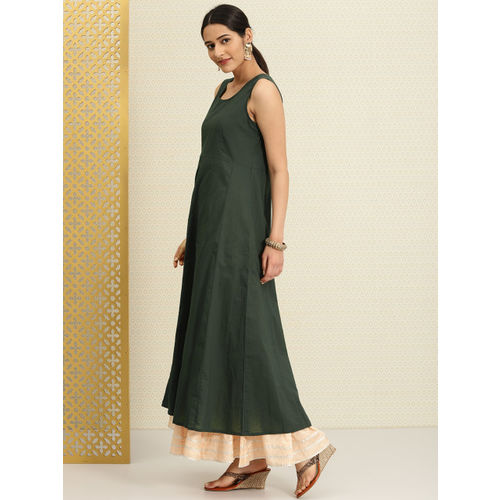 House of Pataudi Women Green Printed A-Line Kurta