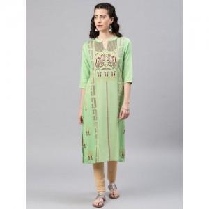 Alena Women's Embroidered Straight Kurta(Green)