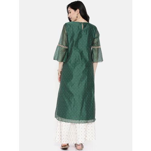 Melange by Lifestyle Women Green Woven Design A-Line Kurta